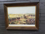 Sale 9011 - Lot 2092 - Battle of Fontenoy Scene in Oak Frame (h:65 x w:86cm)
