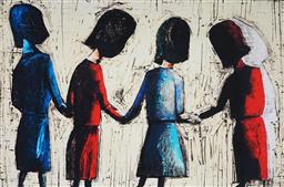 Sale 9042A - Lot 5017 - Charles Blackman (1928 - 2018) - Four School Girls 66 x 100 cm (frame: 84 x 117 x 3 cm)