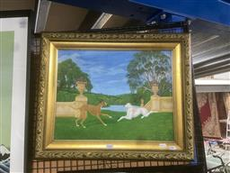 Sale 9111 - Lot 2060 - Artist Unknown Dogs Frolicking, acrylic, frame: 49 x 59 cm,