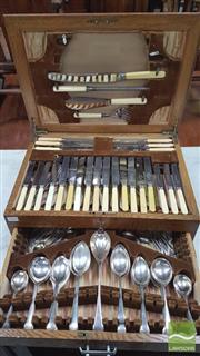 Sale 8375 - Lot 1046 - Early C19th Part Cutlery Service in Oak Canteen