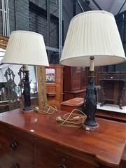 Sale 8917 - Lot 1090 - Pair of Egyptian Themed Table Lamps, the semi-clad female figures with headdress & on red marble bases, having cream pleated shades