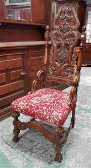 Sale 8939 - Lot 1078 - 18th Century Style Highback Fruitwood Chair, the carved & turned back, with brackets, upholstered in a red fabric with roses, the ca...