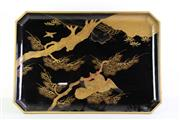Sale 8972 - Lot 26 - A Japanese Urushi Tea Table Featuring A Gilded Bird Pattern To Top  (S2-11) ( 60cm x 42cm x 16cm)