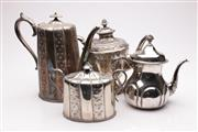 Sale 9057 - Lot 33 - A Collection of 4 Silver Plated Teapots and Jugs