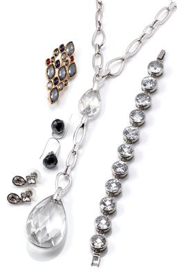 Sale 9149 - Lot 335 - FOUR ITEMS OF SWAROVSKI JEWELLERY AND GHK BRACELET; silver tone necklace with 2 large pear shape crystals, adjustable length to 40cm...