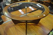 Sale 8364 - Lot 1062 - G-Plan Atmos Round Teak Coffee Table with Glass Top