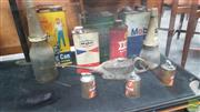 Sale 8409 - Lot 1015 - Collection of Oil Bottles and Tins incl. Golden Fleece
