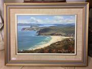 Sale 8730B - Lot 12 - Brian Bagent - Oil on Board Depicting a Coastal Scene 45cm x 29