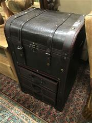 Sale 8851 - Lot 1082 - Leather Bound Trunk Form Bedside Chest