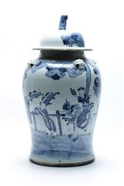 Sale 8864O - Lot 624 - Large Chinese Blue & White Lidded Ginger Jar with Lion finial and handles (H46cm)