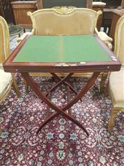 Sale 8917 - Lot 1013 - Unusual Victorian Inlaid Mahogany Folding Campaign Table with green base interior, another folding compartment fitted as desk, raise...