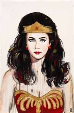 Sale 9221JM - Lot 5075 - EMMA SHELDRAKE (1975 - ) Wonder Woman acrylic on canvas 152.5 x 101.5 cm signed lower right, inscribed and titled verso