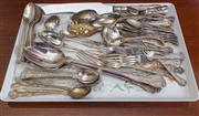 Sale 8470H - Lot 64 - A drawer of assorted EP cutlery including salad servers etc, various patterns