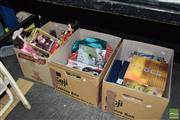 Sale 8509 - Lot 2352 - 3 Boxes of Sundries incl World Dolls, Ladies Shoes etc