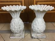 Sale 8730B - Lot 13 - Pair of Cast Iron Pineapple Form Planters H: 42cm