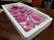 Sale 8834 - Lot 1094 - Sliced Pink Quartz/Agate (8)