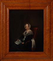Sale 8855H - Lot 11 - Colonial School, Portrait of Jane Goldsworthy, oil on canvas, 27 x 22cm Provenance: Geoff K Gray Auctioneers 1981
