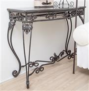 Sale 8902H - Lot 87 - A wrought iron marble top console table with applied acanthus and floral decoration, Height 84cm, Width 103cm, Depth 46cm