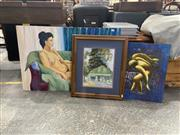 Sale 8995 - Lot 2048 - Group of (3) Paintings: Figure and Surrealscape; Reclined Female in Studio by Unknown Artists, and  Patsy Purvis Country Cottage