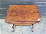 Sale 9048 - Lot 1017 - Good Victorian Burr Walnut Sewing Table, the slim frieze drawer with dividers, flanked by roundels, above a basket with internal sli...