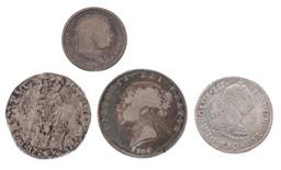 Sale 9130E - Lot 61 - Group of four silver coins including 1844 British half crown, 1724, total weight 35.5g