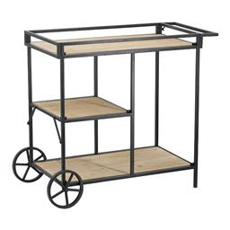 Sale 9134H - Lot 91 - A metal bar cart with three timber tiers and oversized back wheels, Height 68cm x Width 82cm x Depth 40cm