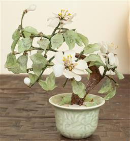 Sale 9164H - Lot 43 - A greenstone petal bonsai in celadon pot, Height 27cm, some losses to petal