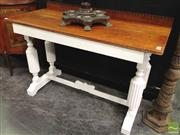 Sale 8412 - Lot 1001 - Carved Timber Hall Table on Stretcher Base