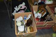 Sale 8509 - Lot 2294 - 2 Boxes of Sundries incl Oriental Themed Ornaments