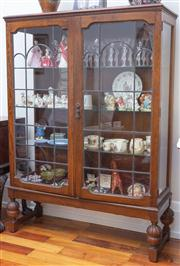 Sale 8590A - Lot 26 - A Federation maple display case with leadlight doors and cup and cover supports, H 145 x W 105 x D 40cm