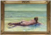 Sale 8730B - Lot 14 - Neville McIntosh - Watercolour of a Nude in Shallow Water 52cm x 38