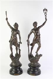 Sale 8766 - Lot 1 - Pair of Cast Metal Classical Style Figures (H 73cm)