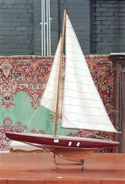 Sale 8792 - Lot 1079 - Vintage Model Sailing Boat, on stand