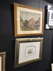 Sale 8816 - Lot 2062 - 2 Works: SH Gill - Houses, watercolour, SLR & WE Brown - Chatelard Montreux, watercolour, SLR