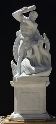 Sale 9015G - Lot 5 - A Large Carved White Marble Sculpture of Hercules and Hydra.After the work of Lorenzo Mattielli on the Hofburg Facade in Vienna, C...
