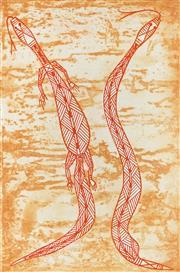 Sale 9053 - Lot 2092 - Solomon Girrabul (3 works) - Namarrkon, Durrubu & Kedjebe, Narbalek 49.5 x 32.5 cm, each (frame: 85 x 65 x 2 cm, each)