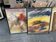Sale 9061 - Lot 2085 - Maya Elisabeth (two works) Landscapes, watercolour & gouache frame: 78 x 65 cm, signed lower