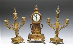 Sale 9093 - Lot 90 - Art Nouveau Clock Garniture (H:32cm) (some Losses)