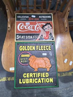 Sale 9108 - Lot 1080 - Cast Iron Golden Fleece and Coca Cola Sign