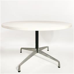 Sale 9252AD - Lot 5071 - EAMES ROUND DINING/CONFERENCE TABLE BY VITRA: laminate top on aluminium four star base, meeting table or 4-6 dining table (h.71 x di...