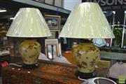 Sale 8289 - Lot 1091 - Pair of Floral Base Table Lamps, Belgium (3401)