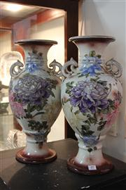Sale 8327 - Lot 89 - Japanese Pair of Hand Painted Vases