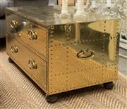 Sale 8709 - Lot 1019 - A brass, riveted two drawer chest / bedside table on bun feet with ring pull handles, H x 47cm, W x 87cm, D x 50cm