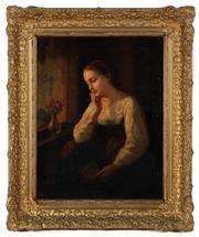 Sale 8804A - Lot 102 - Possibly Louis Joseph Digout - Pensive Lady by the Window 44cm x 34cm