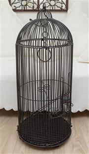 Sale 8902H - Lot 88 - A wrought iron birdcage, Height 96cm, diameter 40cm