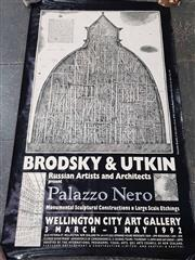 Sale 9004 - Lot 2066 - Alexander Brodsky & Ilya Utkin - Brodsky and Utkin: Palazzo Nero (exhibition poster Wellington City Art Gallery, 1992) 150 x 84.5 cm