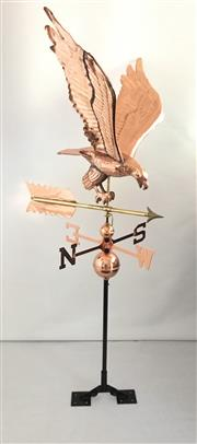 Sale 9015G - Lot 6 - A Copper Eagle in Flight  Weathervane with adjustable roof mount .Size: 140 cm H X 60 cm Widest x 56 cm W At Tip To Tip Eagle Wing