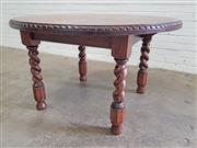 Sale 9071 - Lot 1073 - Round Oak Dining Table over Barley Twist Legs (h:71 x d:120cm)