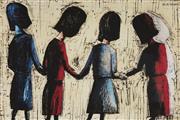Sale 9081A - Lot 5073 - Charles Blackman (1928 - 2018) - Four School Girls 28 x 43 cm (frame: 62 x 64 x 3 cm)