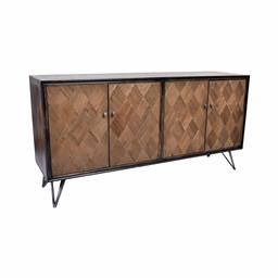 Sale 9140F - Lot 19 - A distressed black wash sideboard constructed with old oak featuring a veneer top & forged iron double bar legs. Dimensions: W170 x ...